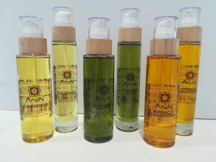 Caléndula, cáñamo-linaza y zanahoria con hipérico, nuevos aceites corporales de Arahí